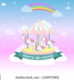 cute unicorns merry-go round