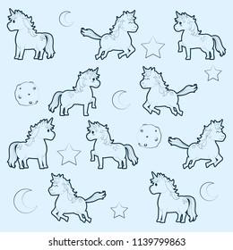 Cute unicorns pattern background
