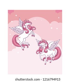 Cute unicorns and Pegasus in the clouds. Vector illustration.