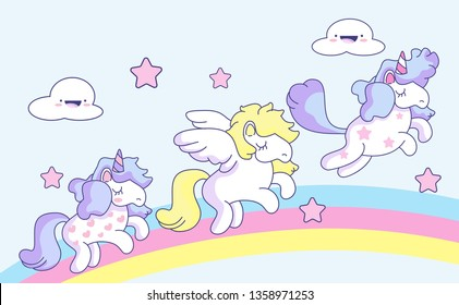 Cute Unicorns and pegasus with rainbow,pastel background.fantasy fairy tale concept.confetti and other elements.cute cartoon style.for paint,fabric clothes,poster,greeting card,party,banner.vector