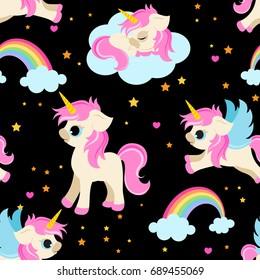 Cute unicorns seamless pattern / magical unicorns fabric pattern