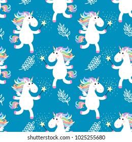 Cute unicorns seamless pattern. Vector illustration. Baby background.