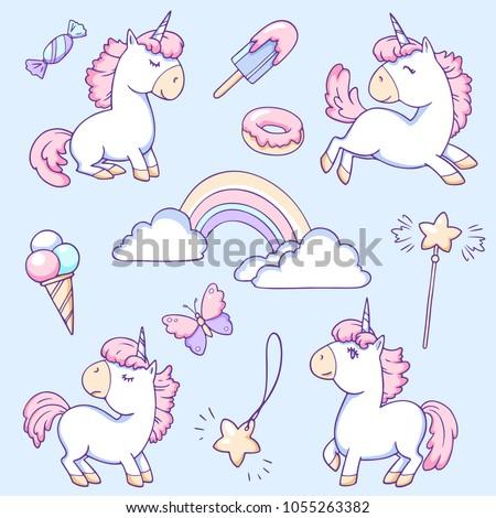 Cute Unicorns Sweets Rainbow Set Color Stock Vector Royalty Free