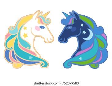 Cute unicorns. Vector illustration
