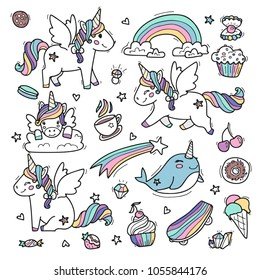 Cute unicorns whit wings in rainbow colors. Vector illustration made in cartoon style