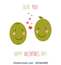 Cute unusual hand drawn Valentines Day card with funny cartoon characters of olives and hand written note