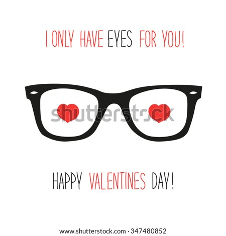 8efcd264fb1 Cute unusual vintage Valentine s Day card with funny glasses and heart  shaped eyes and headline I