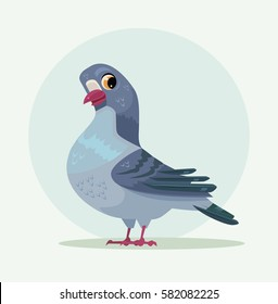 Cute urban gray blue dove character. Vector flat cartoon illustration