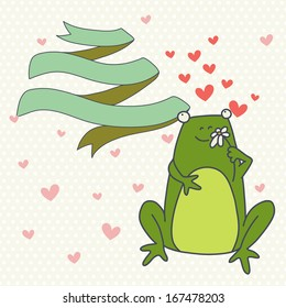 Cute valentine card with hand drawn cartoon frog in love with ribbon banner on polka dot background.