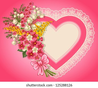 Cute valentine card with heart, bouquet of spring flowers and place for your text