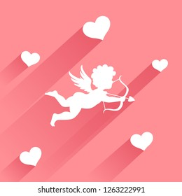 Cute valentine card with silhouette of angel cupid with arrow
