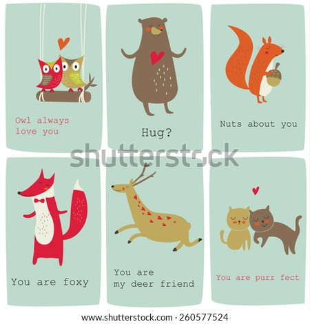 Cute Valentine Cards Funny Animals Vector Stock Vector Royalty Free