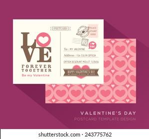 Cute Valentine LOVE postcard card design Vector Template