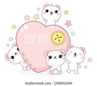 Cute Valentine's day card in kawaii style. Lovely polar bears with heart, inscription Love you. EPS8