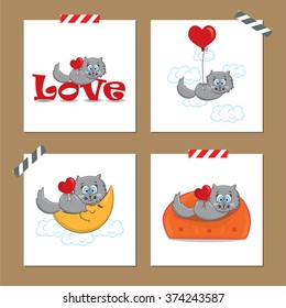Cute Valentine's day cards with funny cat.