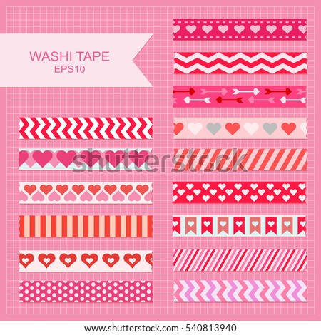 Cute Valentine's Day decorative washi tape strips.
