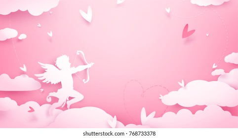 Cute Valentines day greeting card with Cupid in clouds, paper cut decoration. Hand drawn elements, vector illustration. Hearts, happy love angel for Valentines day holidays, romantic Paper art.