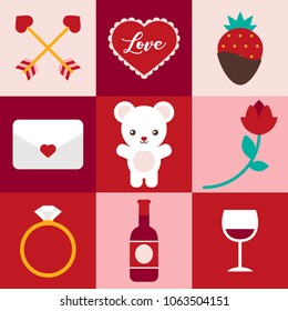 Cute Valentine's Day and love related icons.