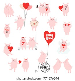 Cute Valentines day set with pigs in vector