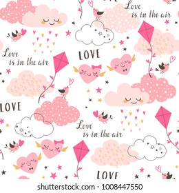 Cute Valentine's seamless pattern with pink clouds, hearts, kite, birds and stars on white background.