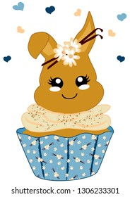 cute vanilla cupcake with bunny in kawaii style. Vector file eps 10
