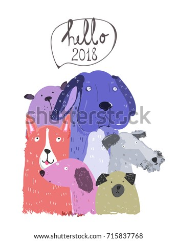 cute various dogs hello new year greeting card