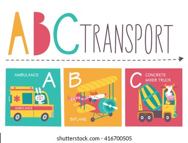 Cute vector alphabet with animals and transport in cartoon style. A, B, C. Part 1.