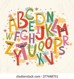 cute vector alphabet for children. baby font.