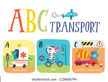 Cute vector alphabet with little animals and transport in cartoon style. A, B, C. Part 1.