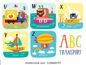 Cute vector alphabet with little animals and transport in cartoon style. V, W, X, Y, Z. Part 5.
