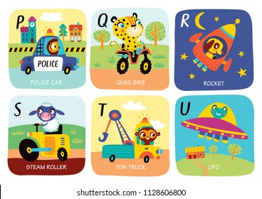 Cute vector alphabet with little animals and transport in cartoon style. P, Q, R, S, T, U. Part 4.