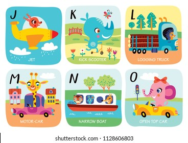 Cute vector alphabet with little animals and transport in cartoon style. J, K, L, M, N, O. Part 3.