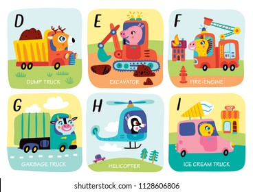 Cute vector alphabet with little animals and transport in cartoon style. D, E, F, G, H, I. Part 2.