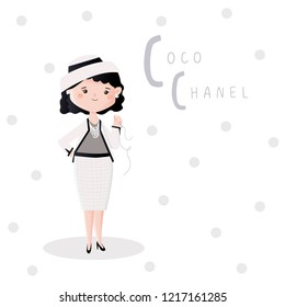 "Cute vector alphabet ""People who changed the world"". Letter C - Coco Chanel."