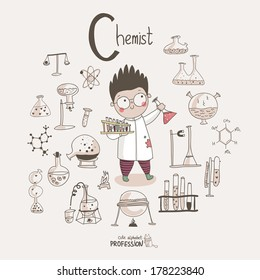 Cute vector alphabet Profession. Letter C - Chemist