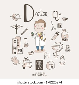 Cute vector alphabet Profession. Letter D - Doctor