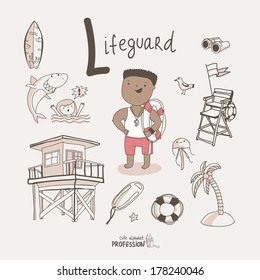 Cute vector alphabet Profession. Letter L - Lifeguard