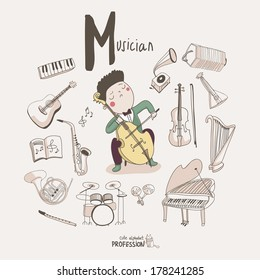 Cute vector alphabet Profession. Letter M - Musician