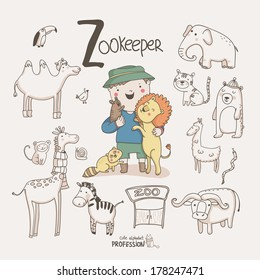 Cute vector alphabet Profession. Letter  Z - Zookeeper