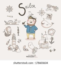 Cute vector alphabet Profession. Letter S - Sailor