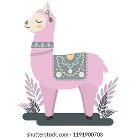 cute vector animal: Cartoon llama with decorative coverlet, earring and collar. flat stylized image of animal with closed eyes and blush