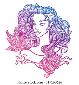 cute vector art card with little princess mermaid. Girl with starfish in hair and with peony flowers in the background. linear tattoo illustration