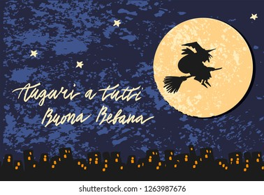 Cute vector art of old witch flying on broomstick with bag of presents night sky moon city background. Holiday celebration character. Auguri a tutti Buona Befana Best Wishes to Everyone Happy Epiphany