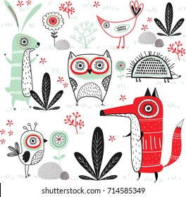 Cute vector background with animals. Cartoon owl, birds,fox,rabbit and hedgehog in the forest.