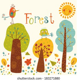 Cute vector background with colorful trees and birds.Cartoon forest. Outdoor concept seamless pattern. Children room design.