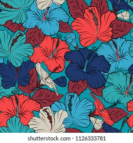 Cute vector background. Seamless abstract floral pattern in pink, black and blue colors. Graphic modern pattern. Geometric leaf ornament. Seamless pattern with hibiscus flowers.