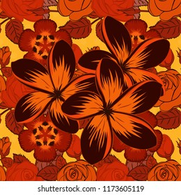 Cute vector background. Seamless abstract floral pattern in red, brown and orange colors. Graphic modern pattern. Geometric leaf ornament. Seamless pattern with plumeria flowers.