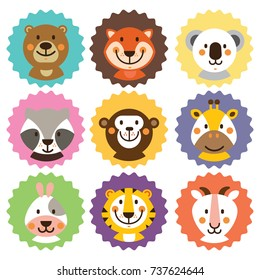 Cute vector badge with animal. Animals Clip Art for card, birthday party, stiker and logo design. Brown bear, orange fox, coala, monkey, giraffe, white rabbit, tiger, goat.