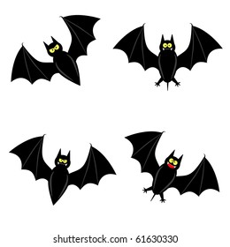 cute vector bat in 4 different varieties