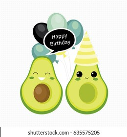 Cute vector birthday card with avocado characters. Vector illustration